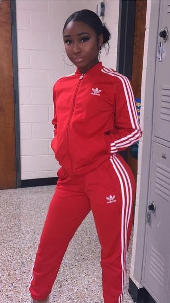 jumpsuit white jacket tracksuit red addias sweater adidas superstars adidas tracksuit lazy day athletic
