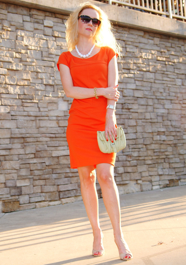 dress orange dress short dress blonde hair