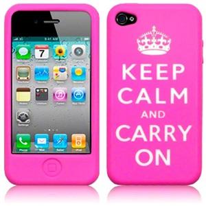 Keep Calm iPhone 4 & 4S Pink Rubber Case | VisitBritain Shop Nordics
