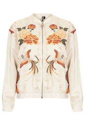 jacket,bird embroidered bomber jacket,topshop,champagne,birds,emboridery,satin bomber