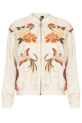 jacket bird embroidered bomber jacket topshop champagne birds emboridery satin bomber