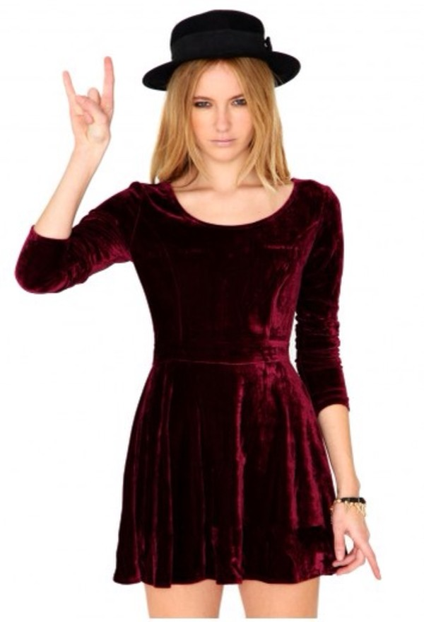 dress velvet crushed velvet skater dress burgundy burgundy dress velvet dress three-quarter sleeves