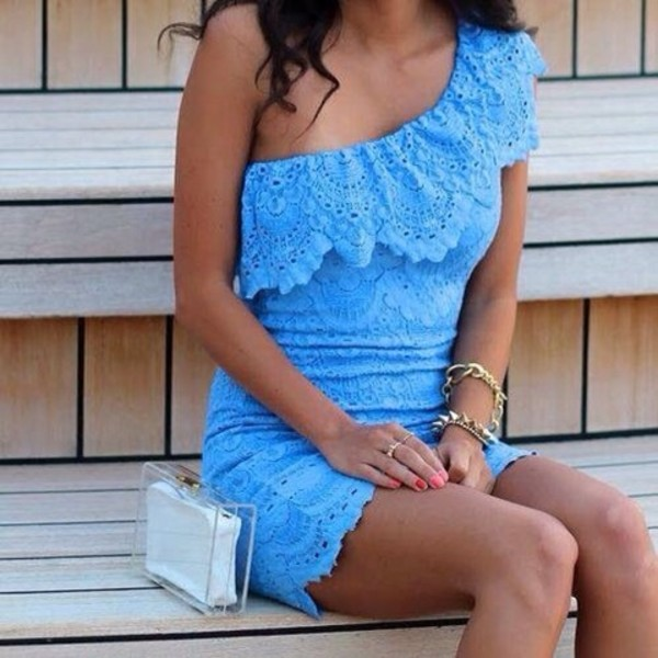 dress blue lace dress cute dress cute dress blue dress one shoulder crochet dress lace dress blue ruffle casual summer summer dress summer outfits girl girly girly dress outfit outfit idea date outfit cute outfits