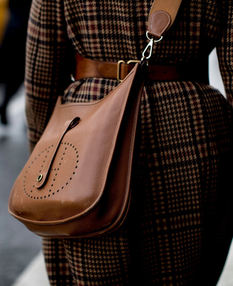 bag coat nyfw 2017 fashion week 2017 fashion week streetstyle brown bag hermes hermes bag belt printed coat