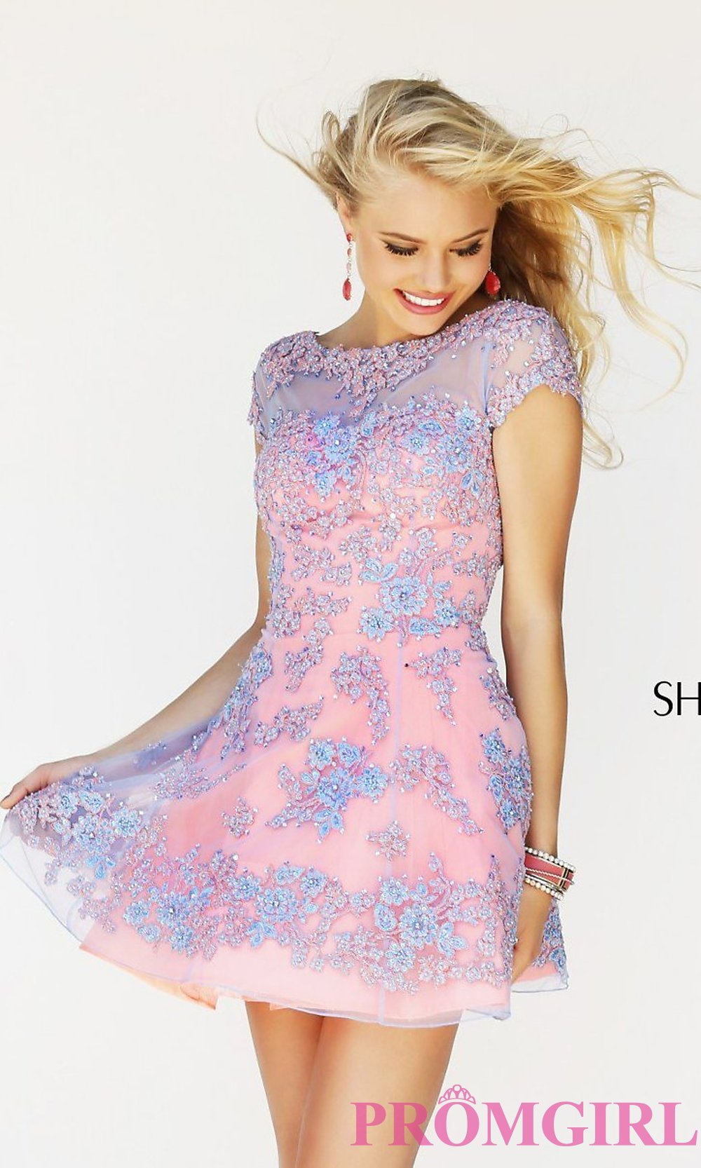 1e971e308a Short High Neck Two Tone Party Dress by Sherri Hill