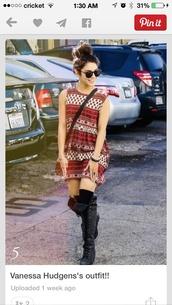 boho,boho dress,hippie,vanessa hudgens,dress,boots,knee high boots,shoes,socks,patterned dress