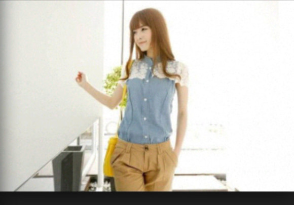 lace white lace blouse cute girly vintage denim