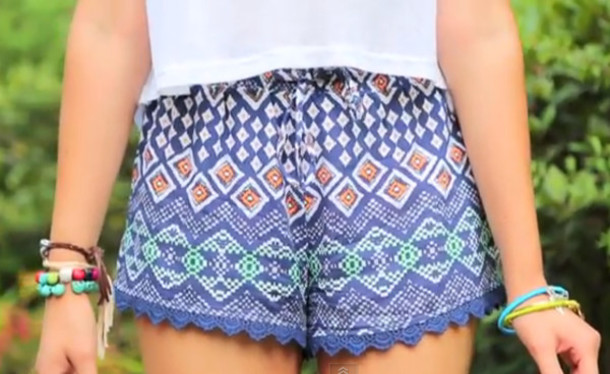 Shorts: pattern, cute, aztec, bracelets, white, blue, colorful ...