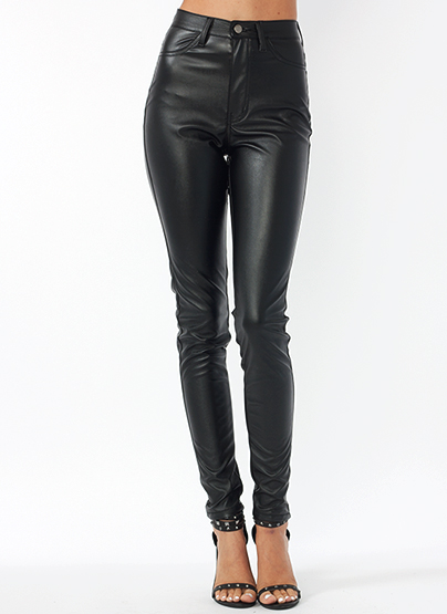 GJ | Faux Leather Biker Babe Pants $39.00 in BLACK - High-Waisted | GoJane.com