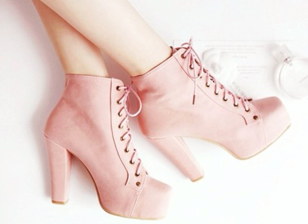 Shoes: platform lace up boots, baby pink high heels, platform ...