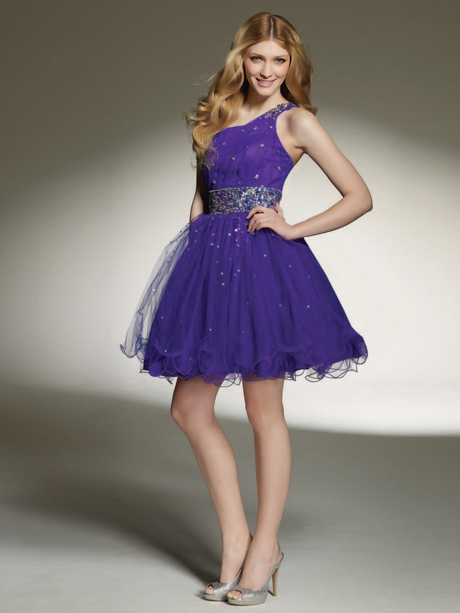 Chic One-Shoulder Royal Blue Tulle Beaded Embellished Short Homecoming Dresses - Happidress