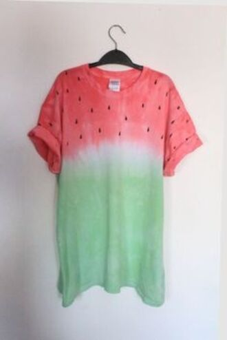 watermelon shirt green pink watermelon print shirt tshirt. t-shirt water melon beach summer top jeans diy t-shirt