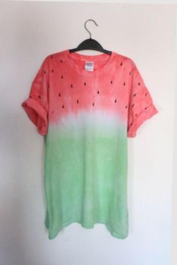 watermelon shirt green pink watermelon print shirt tshirt. t-shirt watermelon print tees fruits summer summer t-shirt red dip dyed diy t-shirt jeans water melon beach beach summer top beach t-shirt black white faded