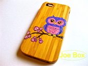bag,owl,cute,iphone cover,iphone case,iphone 5 case,pink,light purple,bamboo,phone cover,glitter,etsy sale,sale,flowers,pink flowers,yellow,bamboo case