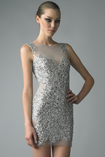 D5783A - Silver Sleeveless Sequin Panel Dress
