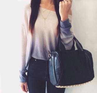 sweater ombre white blue bag