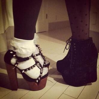 shoes jeffrey campbell black grunge spiked shoes
