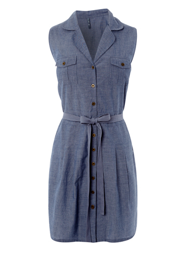 Ladies Denim Belted Shirt Dress