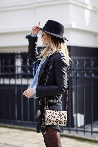 by vh blogger shoulder bag leopard print black jacket