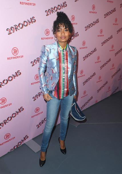 jacket blazer jeans yara shahidi pumps blouse shirt
