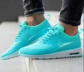 shoes,nike running shoes,blue nikes,just do it,nike,nike air max thea,teal