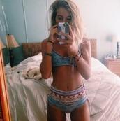 swimwear,bikini,bikini bottoms,bikini top,hippie,summer outfits,boho,pretty,blue,high waisted bikini,high waisted,girl,phone,blonde hair,cute,hair,girly,pink,bracelets,iphone,green iphone,lamp,jewelry,boho chic,boho jewelry,bedding,home decor