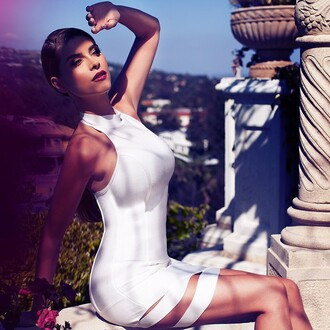 dress shiva safai celebrity mini dress bodycon dress white dress club dress high neck summer dress
