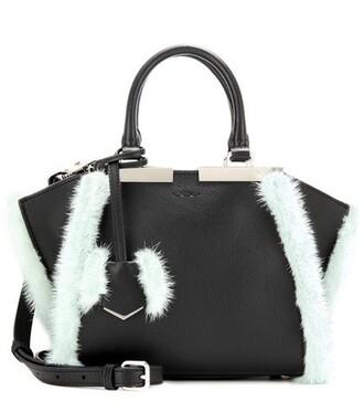 mini fur leather black bag