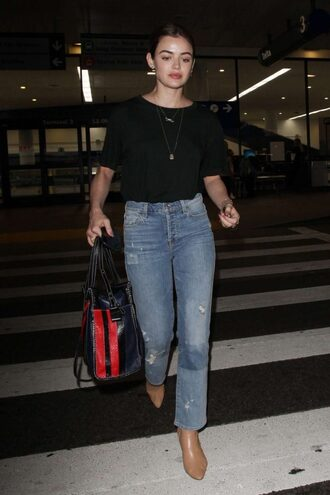 jeans lucy hale denim top casual celebrity streetstyle