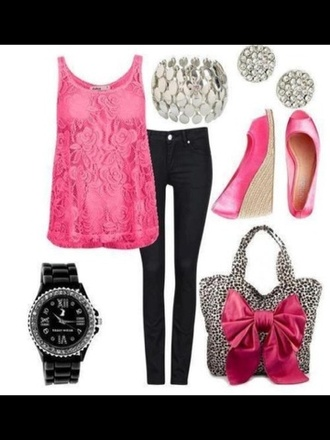 shirt pink shirts black jeans animal print bag studs black watch wedges