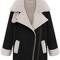 Black lapel long sleeve pockets woolen coat - sheinside.com