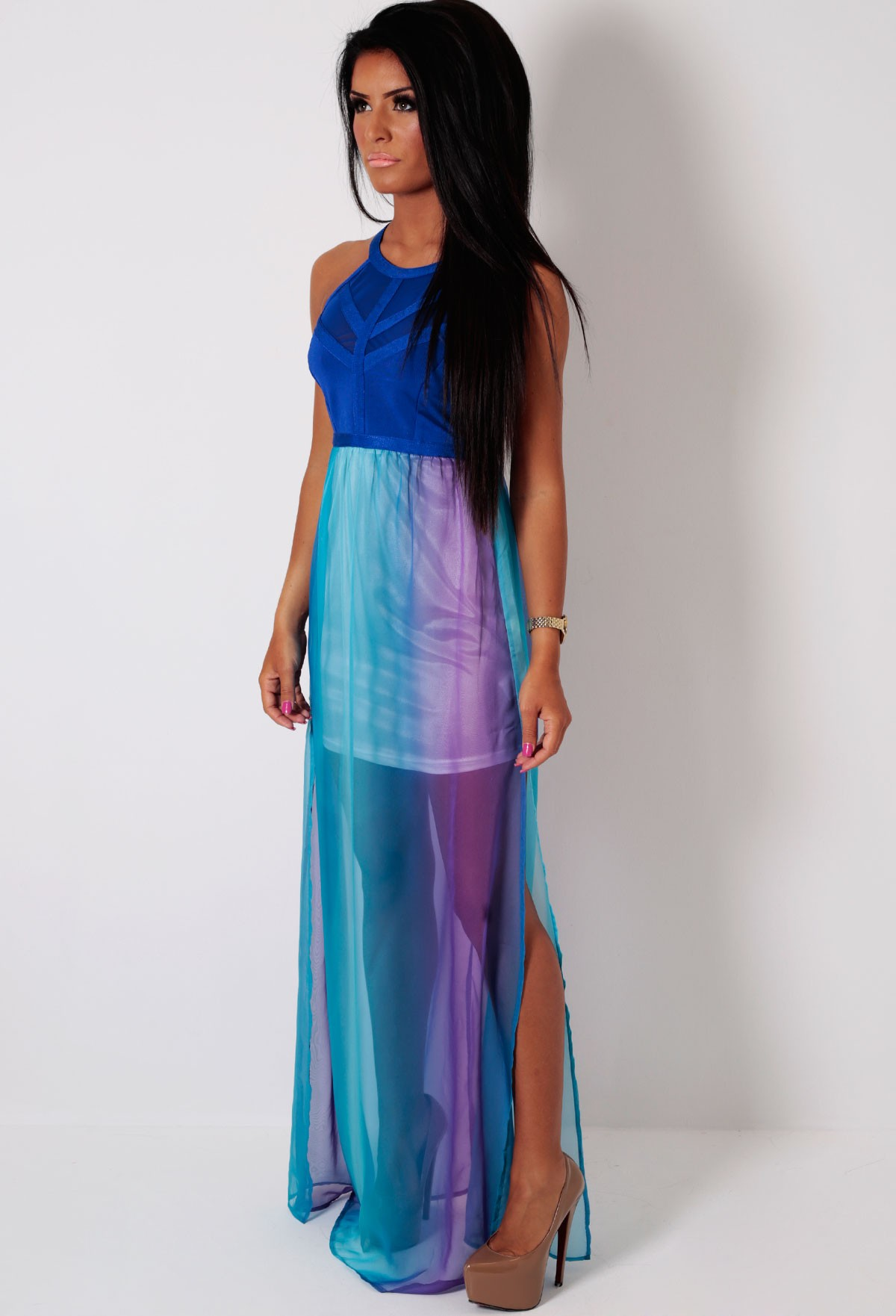 Pink and blue maxi dress