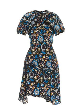 dress silk dress floral print silk black