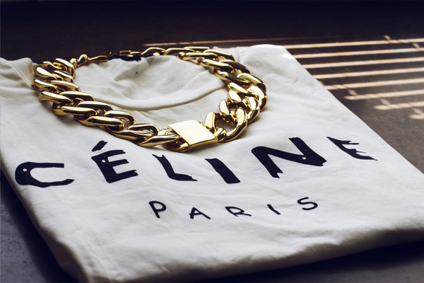 t-shirt celine id jewels chain necklace swag t-shirt white