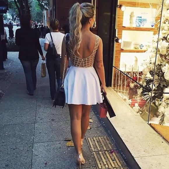 golden white little dress white dress