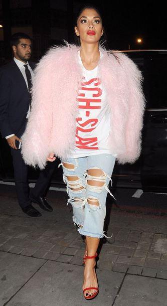 jacket fur fur jacket sandals nicole scherzinger t-shirt