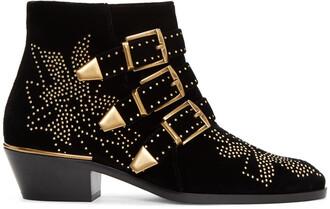 boots black velvet shoes