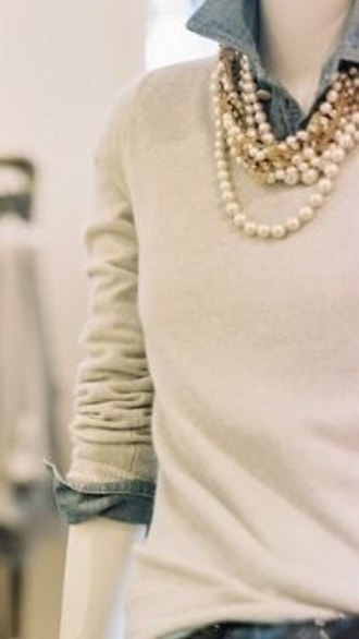 sweater shirt denim pearl