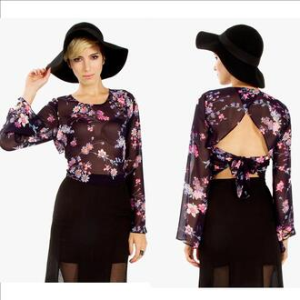 cut-out backless blouse sheer tie 70s style bell sleeve