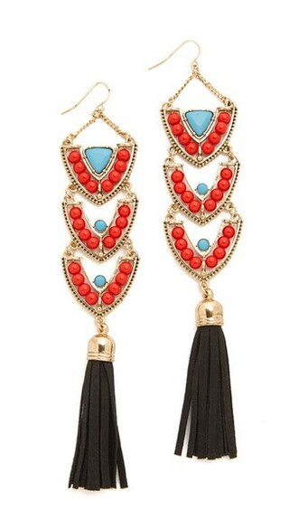 earrings gold blue black red jewels