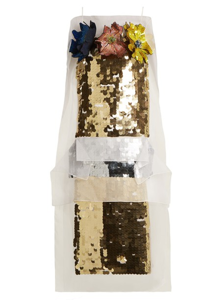 CHRISTOPHER KANE dress embellished floral silk gold