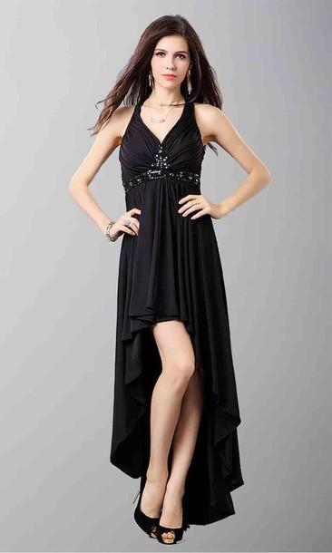 High Low Dresses Black Prom Dress Halter Dress Empire Waist Dress