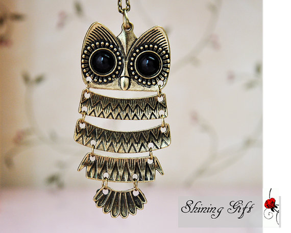 Vintage style owl necklace by myshininggift on etsy