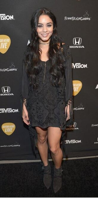 dress boho dress black dress vanessa hudgens ankle boots shoes