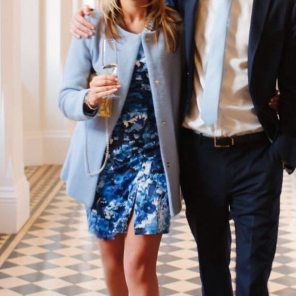 Dress Blue White Girl Boy Boyfriend Date Dress Wedding Guest