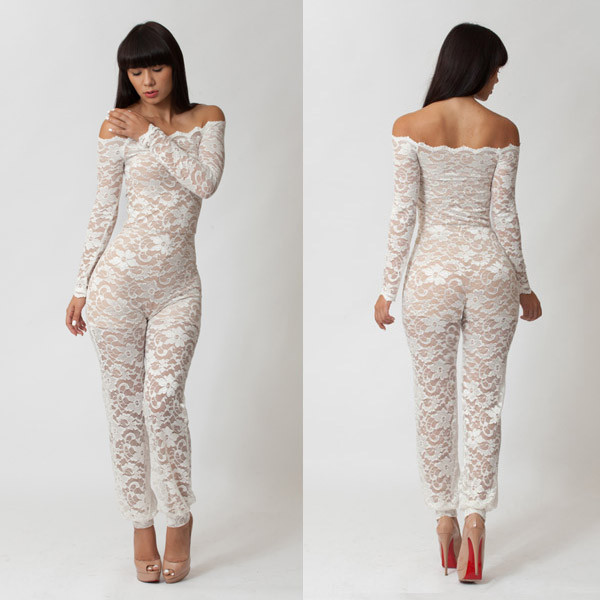 Factory Sell! Fashion Women 2014 Clothes Sexy Lace Evening Jumpsuit White Black Bodycon Clubwear Hollow Out Elegant Jumpsuits-in Jumpsuits & Rompers from Apparel & Accessories on Aliexpress.com