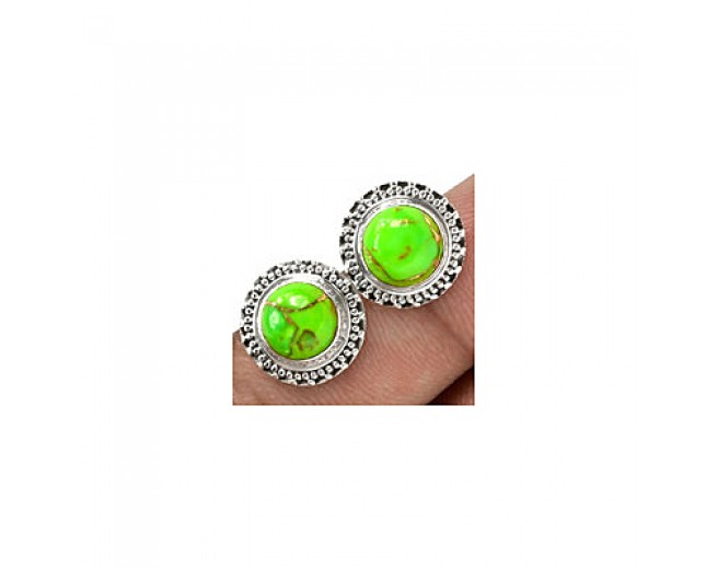 Unique 925 sterling silver Gemstone Green Copper Turquoise Stud