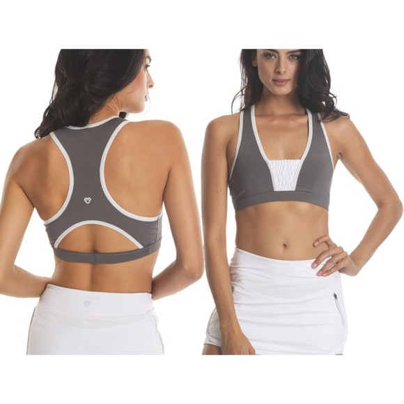 bra top sports bra sportswear bra sportswear racer back bra cute gym clothes grey bra grey sportsbra