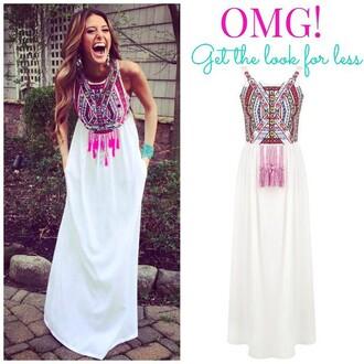 dress e's closet embroidered aztec maxi dress white maxi aztec aztec maxi embroidered maxi dress white maxi dress white dress aztec dress