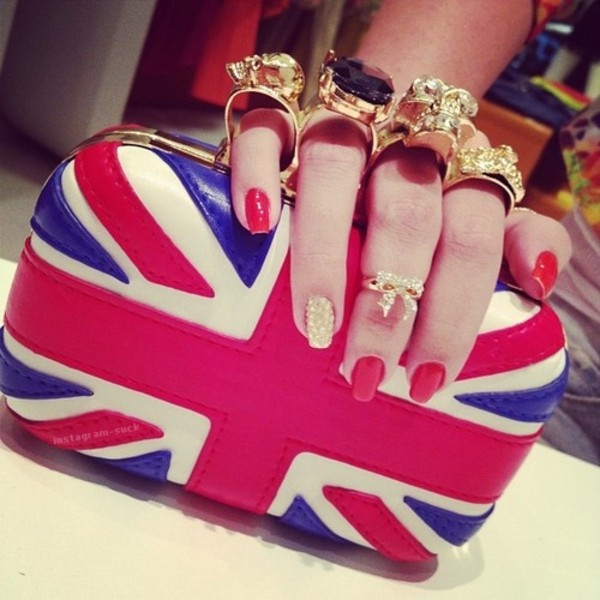 jewels wallet blue and red gold